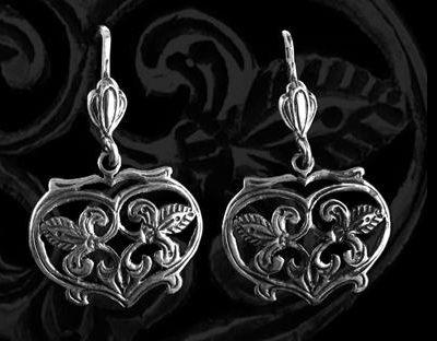 sziv alakú ezüst fülbevaló