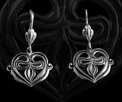 szív alakú ezüst fülbevaló