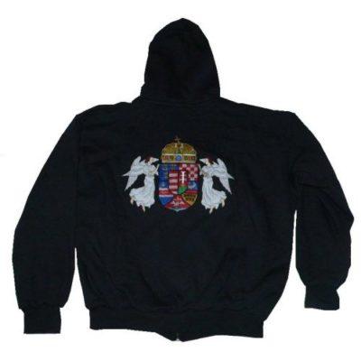 angyalos címeres hímzett kapucnis pulóver