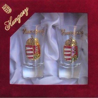 címeres pálinkás pohár díszdobozban