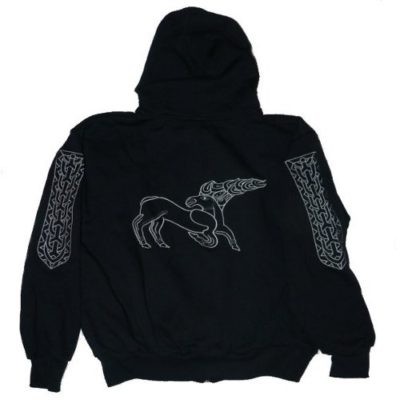szarvasos hímzett kapucnis pulóver