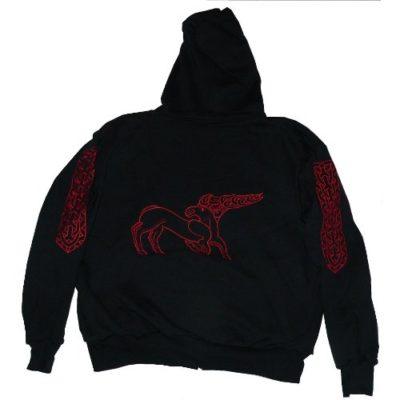 piros, szarvasos hímzett kapucnis pulóver