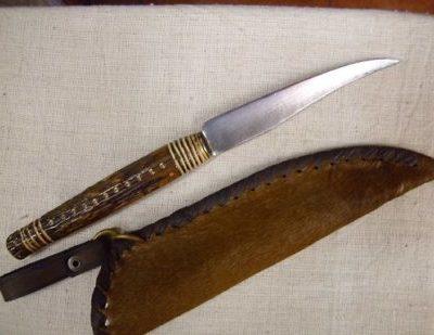 agancsnyelű kés lóbőr tokkal 1