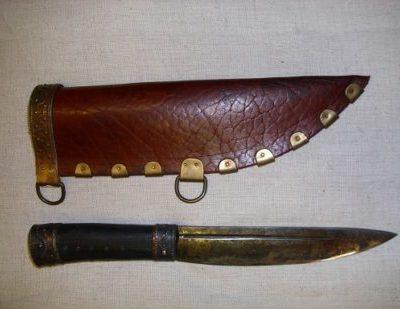 nagy acél kés bőr tokkal