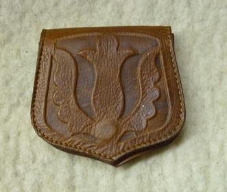 barna, tulipános, domborított mintás bőr pénztárca