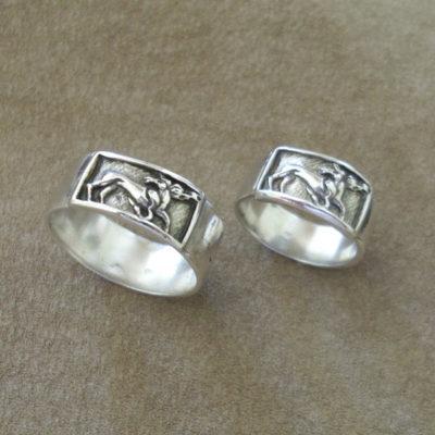 Ezüst gyűrű és ezüst kitűző