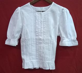 népies fehér fodros bluz