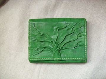 zöld bőr pénztárca