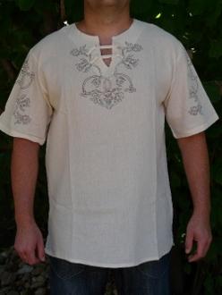 etelközi nyersvászon rövid ujjú ing