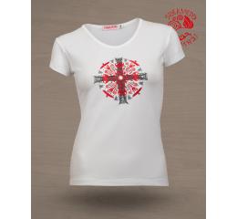 napkeresztes fehér női póló