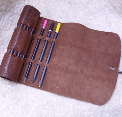 bőr ceruzatartó bőrtekercs
