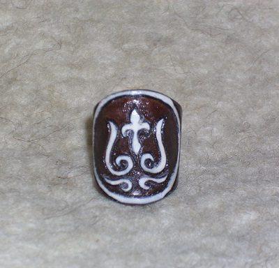 tulipános bőr gyűrű
