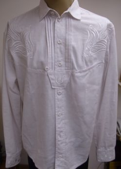 fehér, hímzett lenvászon ing