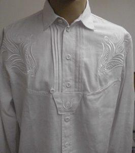 fehér, hímzett kendervászon ing