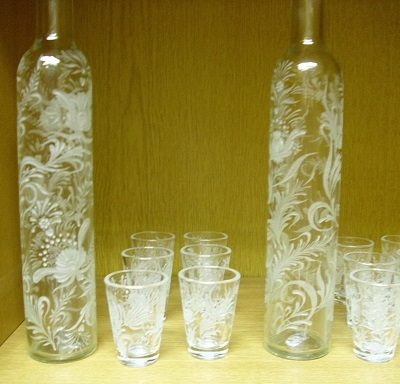 csiszolt üveg pálinkáskészlet