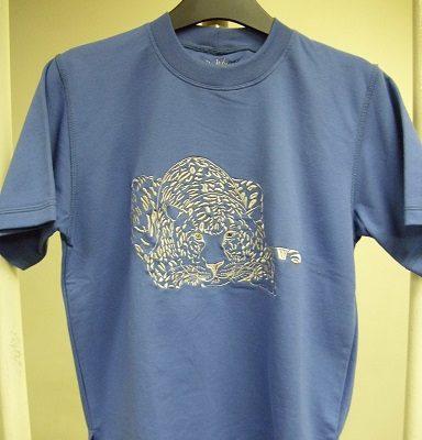 leopárdos hímzett gyermek póló