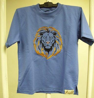oroszlános hímzett gyermek póló