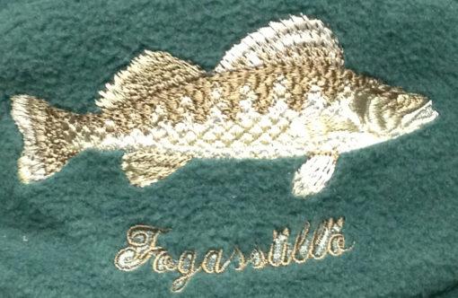 téli horgászsapka hímzett mintával süllő
